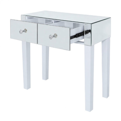 Victoria Mirrored 2 Drawer Console Hallway Table With White Gloss Legs