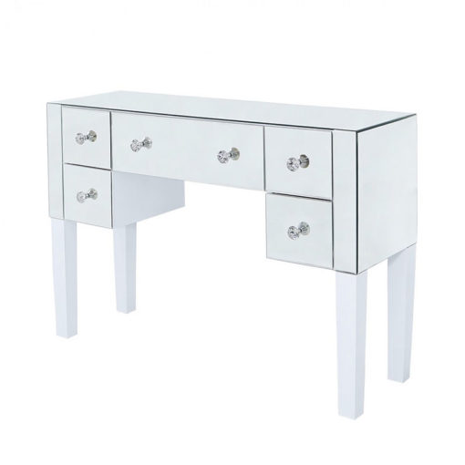 Victoria Mirrored 5 Drawer Dressing Table With White Gloss Legs