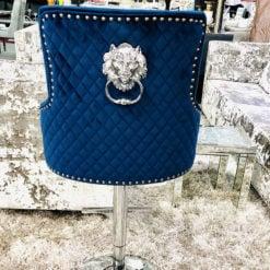 Camilla Navy Blue Velvet And Chrome Bar Stool With A Lion Ring Knocker