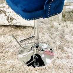 Camilla Navy Blue Velvet And Chrome Bar Stool With A Lion Ring Knocker