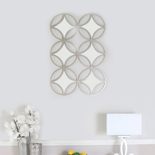 Decorative Wall Mirror With A Silver Metal Frame 105cm