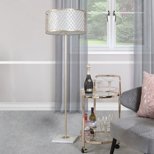 Gold Metal And White Marble Floor Lamp With Marrakech Mesh Shade