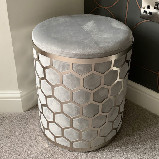 Grey Velvet Round Stool With Brushed Steel Silver Honeycomb Overlay