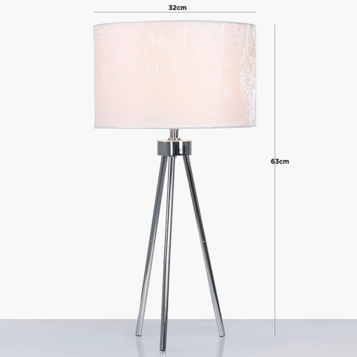 Hollywood Chrome Tripod Table Lamp With White Cotton Shade 63cm