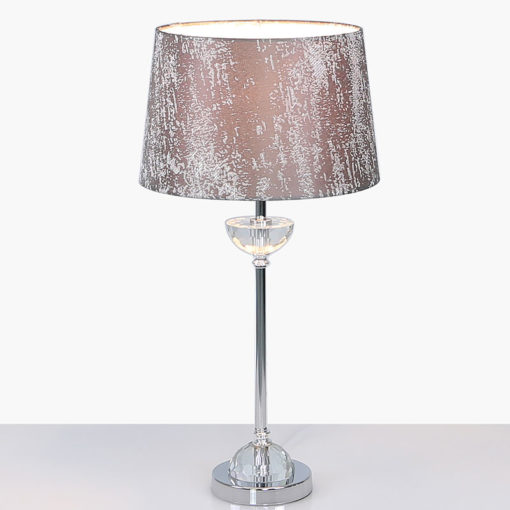 Metal And Glass Table Lamp With Taupe Brushed Style Cotton Shade 54cm