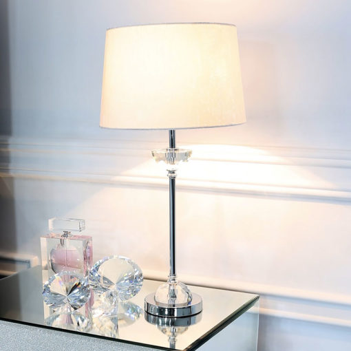 Metal And Glass Table Lamp With White Brushed Style Cotton Shade 54cm