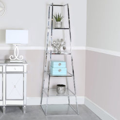 Otis Large Steel and Clear Glass Ladder Style Shelving Display Unit