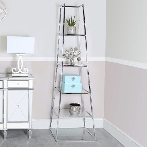 Otis Large Metal and Clear Glass Ladder Style Shelving Display Unit