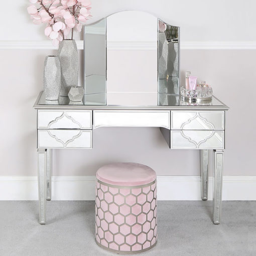 Pink Velvet Round Stool With Brushed Steel Silver Honeycomb Overlay