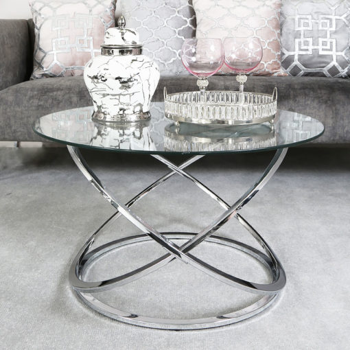 Ulric Chrome And Glass Coffee Table Lounge Table