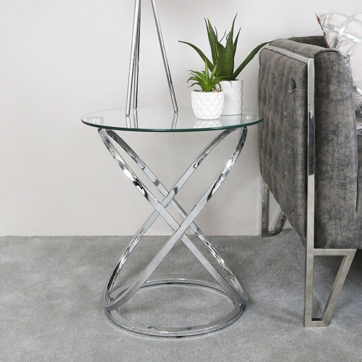Ulric Chrome And Glass End Table Side Table