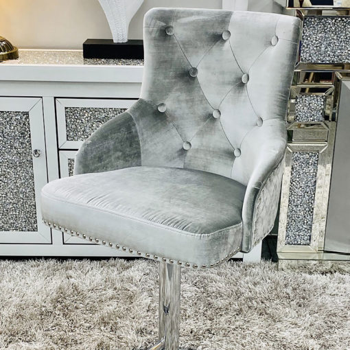 Camilla HQ Silver Velvet And Chrome Bar Stool With Lion Ring Knocker