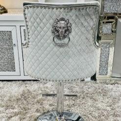 Camilla HQ Silver Velvet And Chrome Bar Stool With Lion Ring Knocker