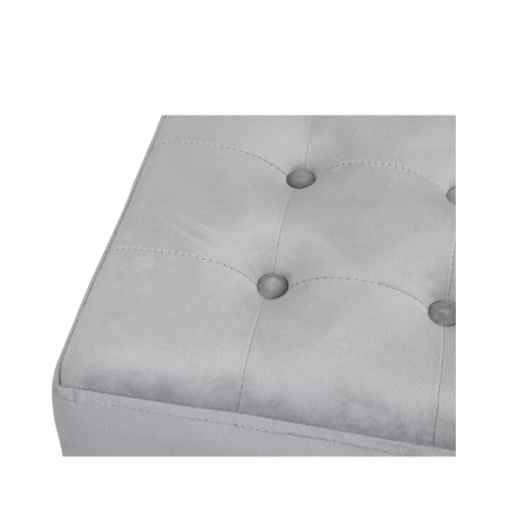 Grey Square Velvet Stool With Buttons And Lion Head Side Handle Rings