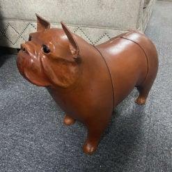 Genuine Handmade Brown Leather French Bulldog Animal Stool Footstool