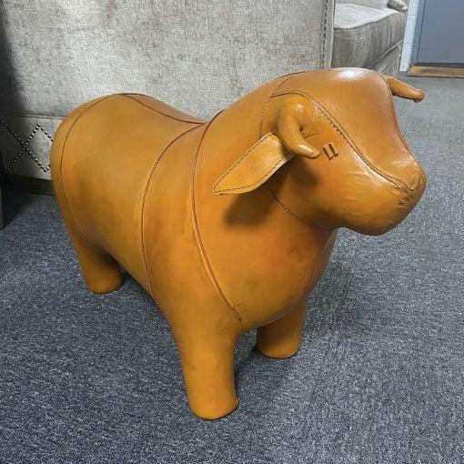 Genuine Vintage Handmade Tan Brown Leather Bull Animal Stool Footstool