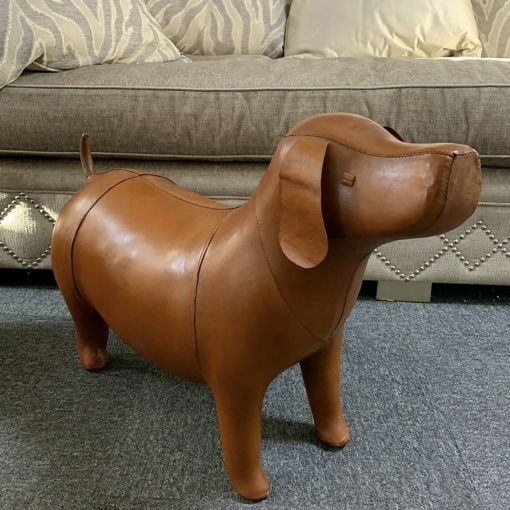 Handmade Large Brown Leather Dog Animal Stool Footstool Seat Pouffe