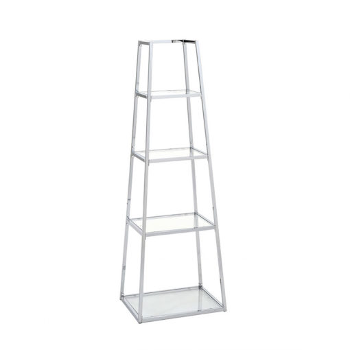 Otis Medium Metal and Clear Glass Ladder Style Shelving Display Unit