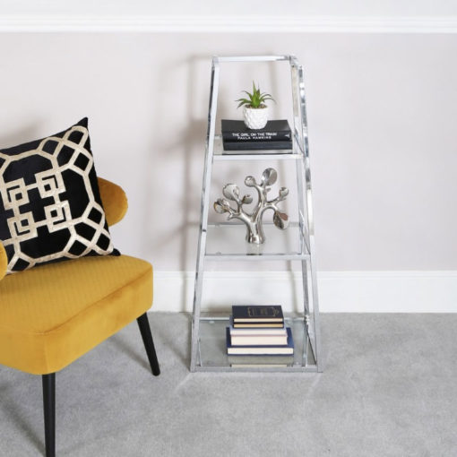 Otis Small Metal and Clear Glass Ladder Style Shelving Display Unit