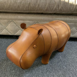 Small Genuine Handmade Leather Hippo Character Animal Footstool Pouffe