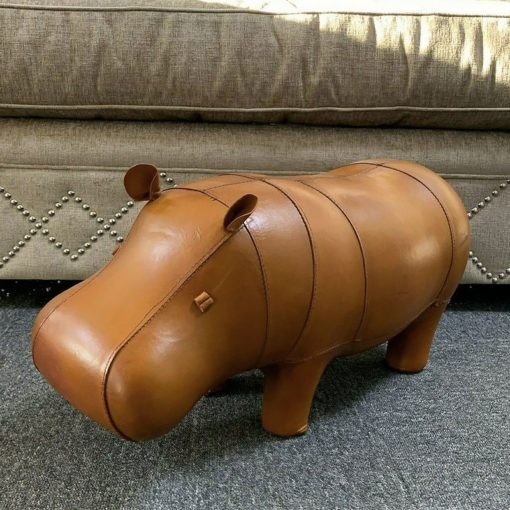 Genuine Handmade Leather Hippo Character Animal