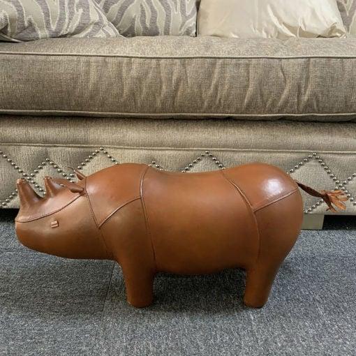 Handmade Leather Rhino Character Animal Stool