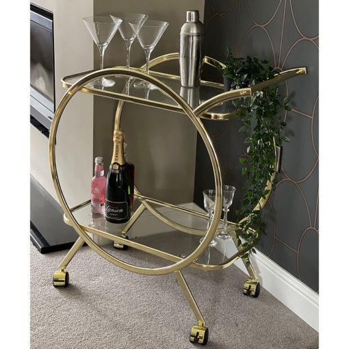 Bailey Drinks Trolley With Circular Gold Frame And Clear Glass Shelves
