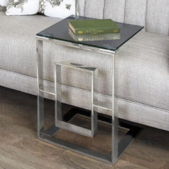 Plaza Contemporary Stainless Steel Smoked Glass Sofa Table Side Table