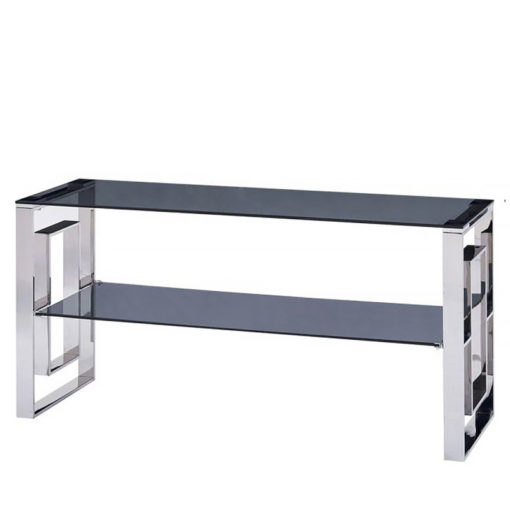 Plaza Stainless Steel Smoked Glass Entertainment Media Unit TV Stand