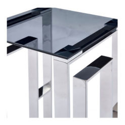 Plaza Stainless Steel Smoked Glass Telephone Side End Table