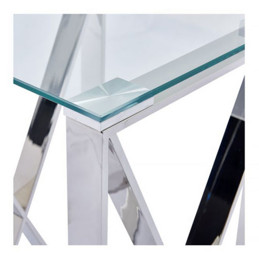 Zenn Contemporary Stainless Steel Clear Glass Telephone Side End Table