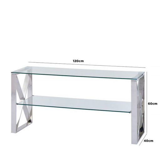 Zenn Stainless Steel Clear Glass Entertainment Media Unit TV Stand