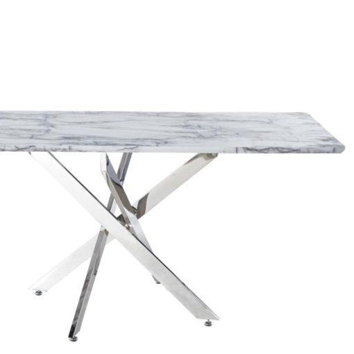 Aurelia Chrome Rectangular Dining Table With A White Marble Effect Top 160cm Picture Perfect Home