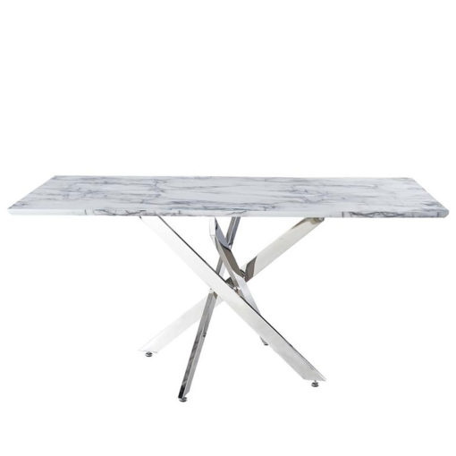 Aurelia Chrome Rectangular Dining Table With A White Marble Effect Top 160cm