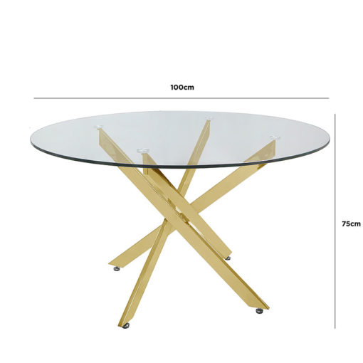 Aurelia Gold Metal And Clear Glass Round Medium Dining Table
