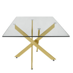 Aurelia Gold Metal And Glass Rectangular Dining Table 160cm