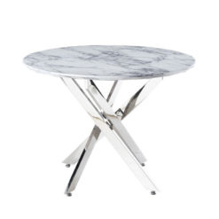 Aurelia Medium Chrome Round Dining Table Kitchen Table With Marble Effect Top