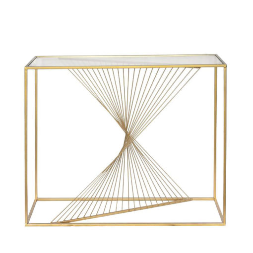 Ava Gold Metal And Clear Glass Console Table With Unique Design
