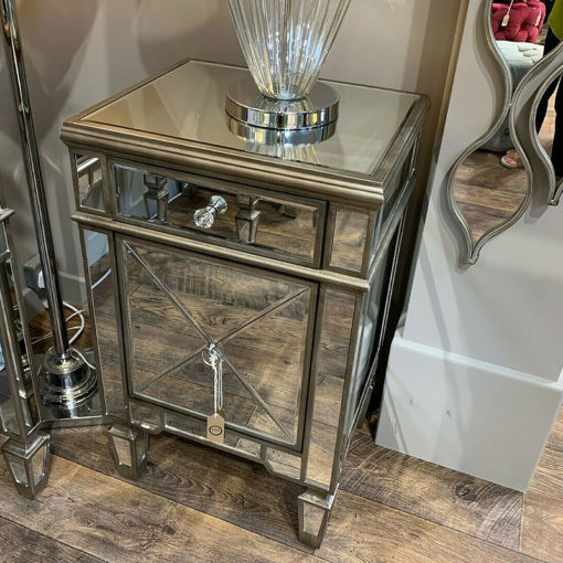 Belfry Champagne Gold Mirrored Glass 1 Drawer 1 Door Bedside Cabinet