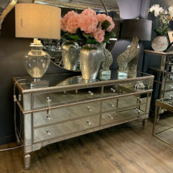 Belfry Antique Champagne Gold Mirrored Glass 6 Drawer Chest of Drawers