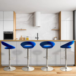 Blue Velvet And Chrome Orb Bar Stool