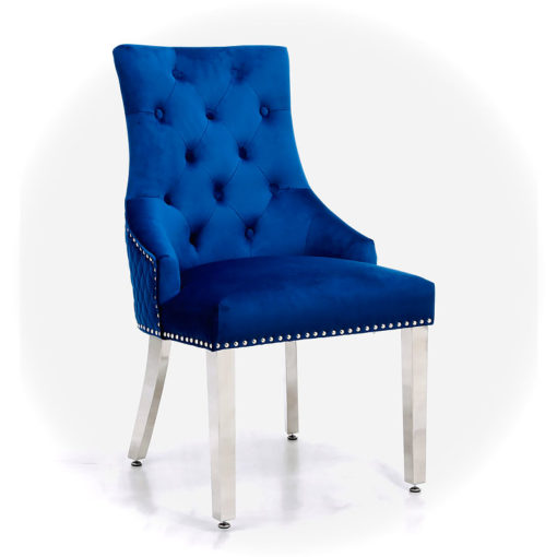 Camilla Blue Velvet And Chrome Dining Chair With Lion Ring Knocker