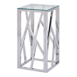 Claudette Stainless Steel And Glass Telephone Table End Side Table