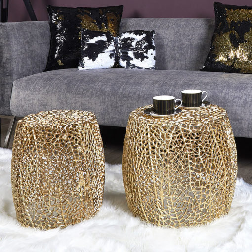 Coralie Set Of 2 Gold Metal Side End Tables With A Coral Pattern
