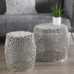 Coralie Set Of 2 Nickel Metal Side End Tables With A Coral Pattern