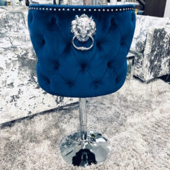 Diana Navy Blue Velvet And Chrome Tufted Bar Stool With Lion Knocker