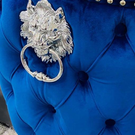 Diana Navy Blue Velvet And Chrome Tufted Bar Stool With Lion Knocker
