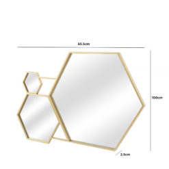 Gold Metal Hexagon Decorative Wall Mirror 100cm