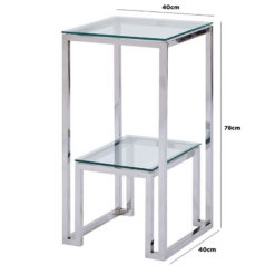 Harper Stainless Steel And Clear Glass Tiered Telephone End Side Table