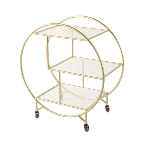 Lennox Gold and Clear Glass 3 Tier Round Drinks Trolley Display Unit